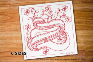 Mamba Bluework Reptiles Embroidery Design By Redwork101