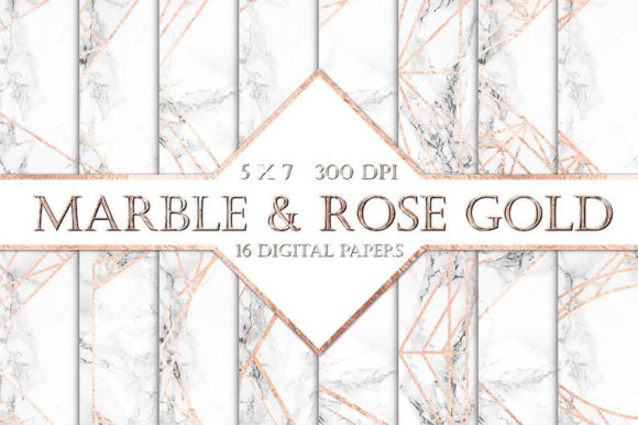 Marble and Rose Gold Backgrounds Graphic Backgrounds By ItGirlDigital