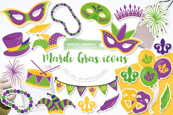 Print on Demand: Mardi Gras Icons Graphic Graphic Templates By Prettygrafik