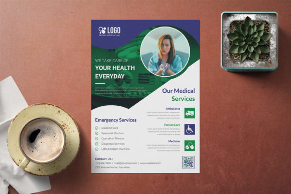 Medical, Healthcare Flyer Template Graphic