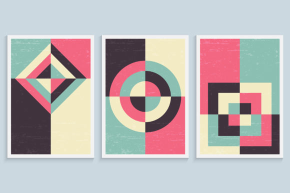 Minimalist Art Wall in Vintage Colors Graphic Backgrounds By medelwardi