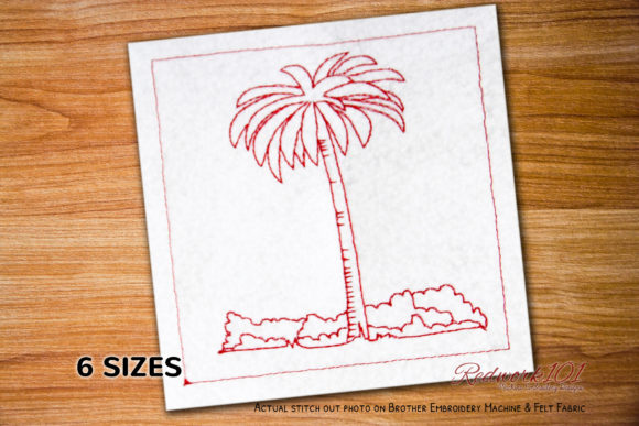 Palm Tree Machine Forest & Trees Embroidery Design By Redwork101