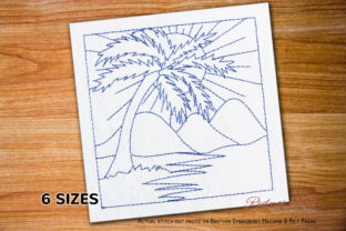 Palm Trees and Sunrise Design Spring Embroidery Design By Redwork101