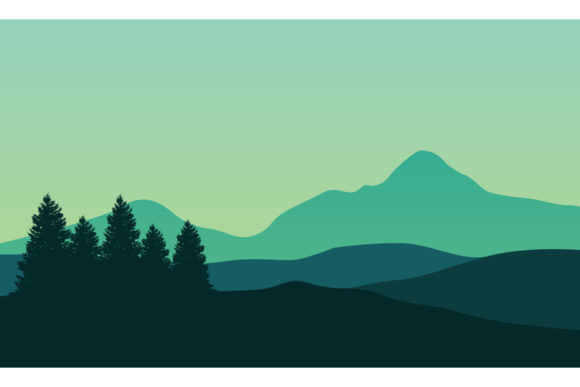 Panorama of Mountains Landscape Graphic Backgrounds By cityvector91