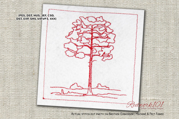 Pine Tree Lineart Design Forest & Trees Embroidery Design By Redwork101
