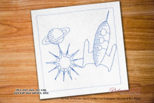Planet with Rocket Space Redwork Robots & Space Embroidery Design By Redwork101