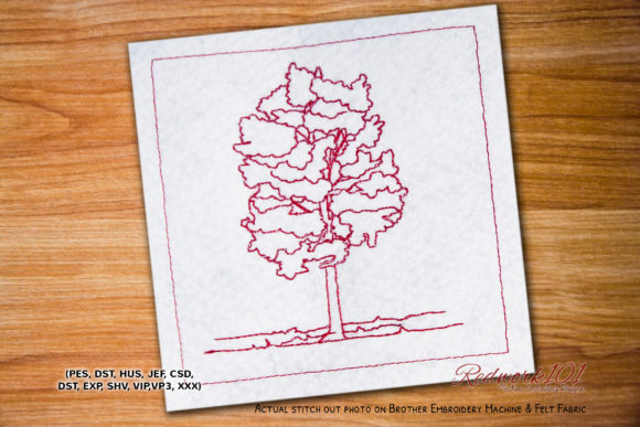 Poplar Tree Bluework Forest & Trees Embroidery Design By Redwork101