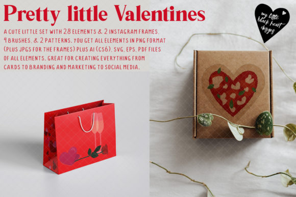 Pretty Little Valentines Graphic Illustrations By My Little Black Heart