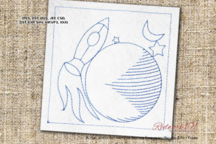 Rocket Going from Earth to Moon Robots & Space Embroidery Design By Redwork101
