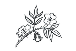 Print on Demand: Rosehip Branch with Flowers Bouquets & Bunches Embroidery Design By EmbArt