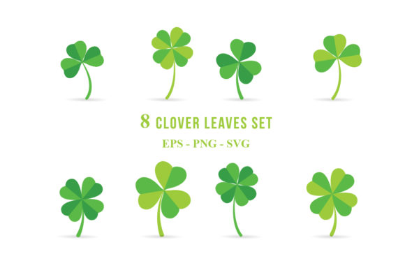 Set of Clover Leaves Vector Clipart Graphic Illustrations By zhyecarther