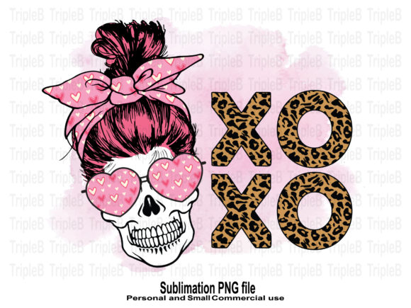 Print on Demand: Skull Funny Valentines XO XO Sublimation Graphic Crafts By TripleBcraft
