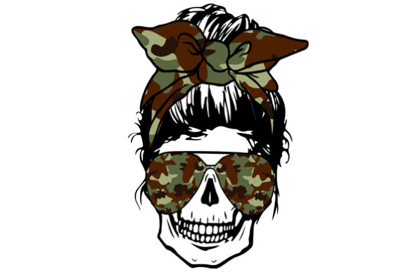 Skull Mom with Camouflage Sublimation Graphic Print Templates By DenizDesign