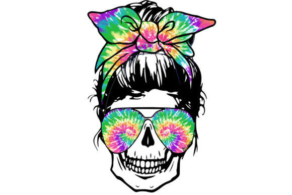 Skull Mom with Tie Dye Sublimation Graphic Print Templates By DenizDesign