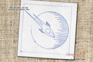 Space Rocket Flying to the Moon Redwork Robots & Space Embroidery Design By Redwork101