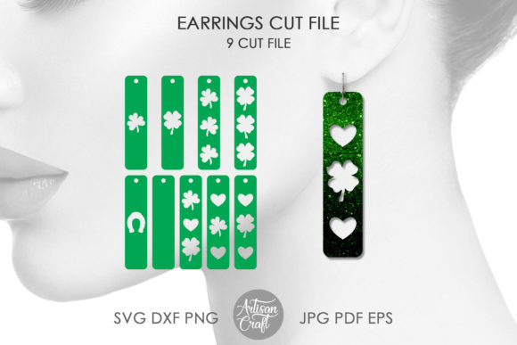 Print on Demand: St Patrick's Day Earrings, Bar Earrings Graphic 3D SVG By Artisan Craft SVG