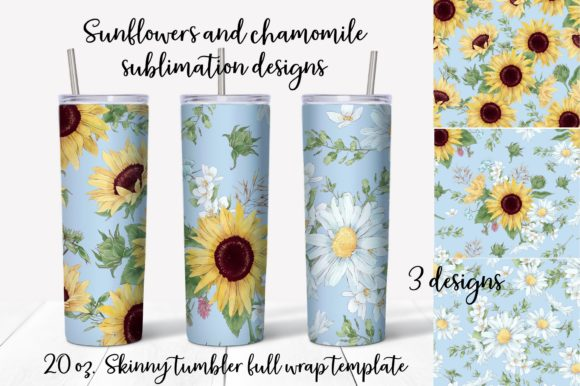 Print on Demand: Sunflowers Sublimation Design. Tumbler Graphic Print Templates By nicjulia