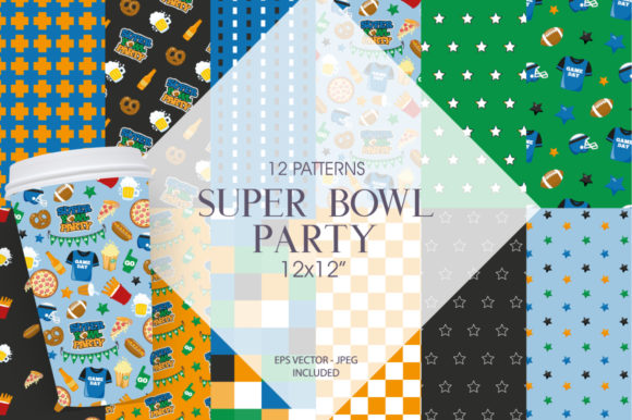 Print on Demand: Super Bowl Party Graphic Patterns By Prettygrafik