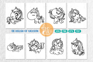 Print on Demand: Unicorn Black-white : Set No.02 Graphic Coloring Pages & Books Kids By decnui.creator