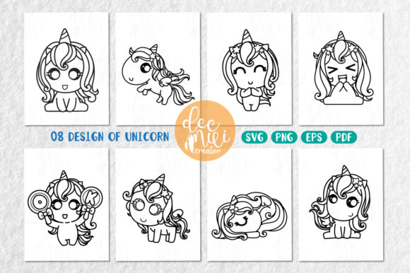 Print on Demand: Unicorn Black-white :  Set No.01 Graphic Coloring Pages & Books Kids By decnui.creator