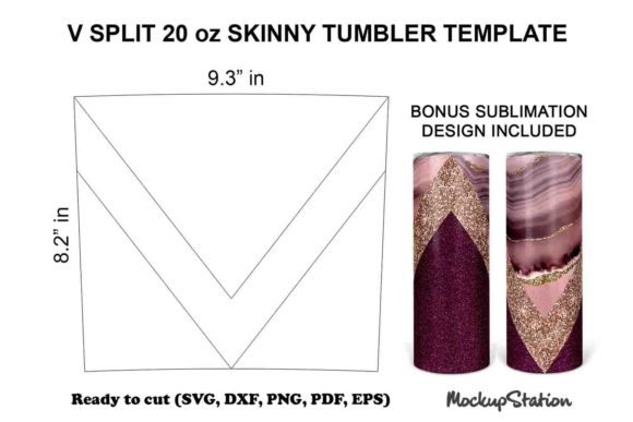 Print on Demand: V Split Tumbler Template SVG 20oz Skinny Graphic Crafts By Mockup Station