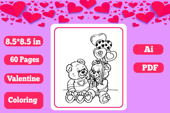 Print on Demand: Valentine Coloring for Kids-KDP Interior Grafik Ausmalseiten & Malbücher für Kinder von KDP_Interior_101