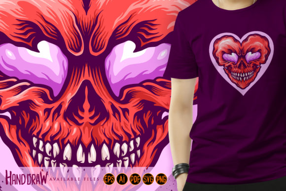 Print on Demand: Valentine Skull Love Day Graphic Graphic Illustrations By artgrarisstudio