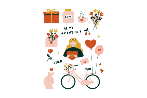 Print on Demand: Valentine Day Icon Elements Illustration Graphic Illustrations By Musbila