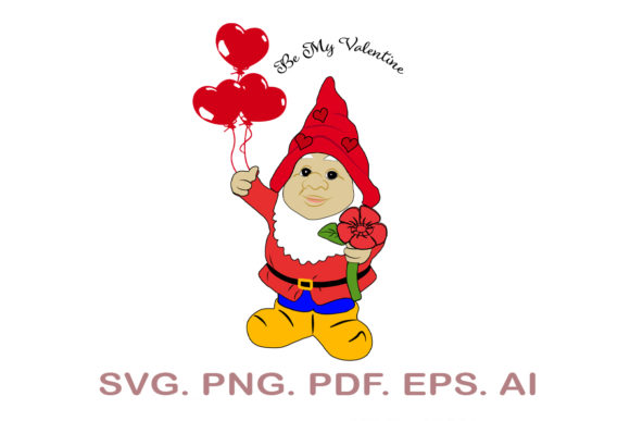 Valentine Gnome SVG Graphic Crafts By NarCreativeDesign