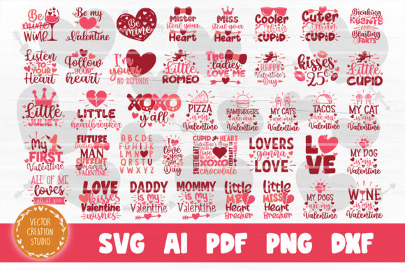 Print on Demand: Valentine's Day SVG Bundle Cut Files Grafik Plotterdateien von VectorCreationStudio