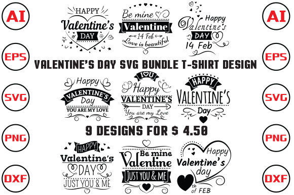 Valentine's Day SVG Bundle T-shirt Graphic Print Templates By rubel2026