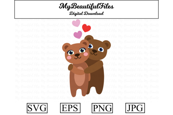 Print on Demand: Valentines Day - Bears Are Hugging Graphic Illustrations By MyBeautifulFiles
