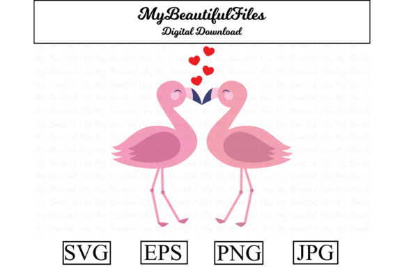 Print on Demand: Valentines Day - Flamingos Are Kissing Graphic Illustrations By MyBeautifulFiles