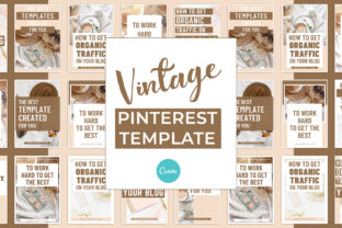 Print on Demand: Vintage Pinterest Canva Template Graphic Presentation Templates By SnapyBiz