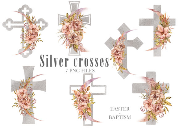 Print on Demand: Watercolor Easter Crosses Clipart Graphic Illustrations By Tiana Geo