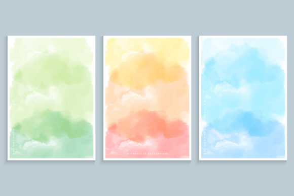 Watercolor Painting Cover Design Set Graphic Backgrounds By medelwardi