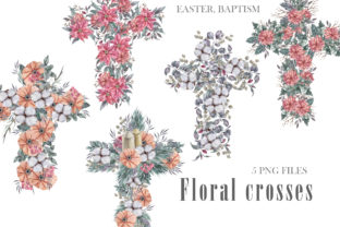 Print on Demand: Watercolor Floral Crosses Png. Graphic Illustrations By Tiana Geo