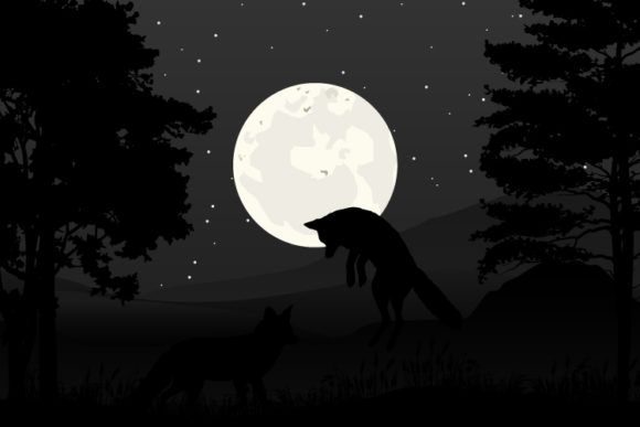 Print on Demand: Wolf and Moon Silhouette Graphic Illustrations By curutdesign