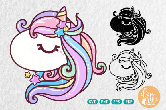 Print on Demand: Colorful Unicorn Cut File Download Graphic Animals By decnui.creator