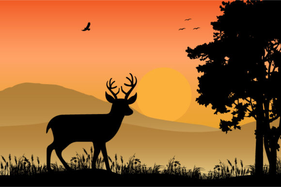 Print on Demand: Deer Silhouette Graphic Illustrations By curutdesign