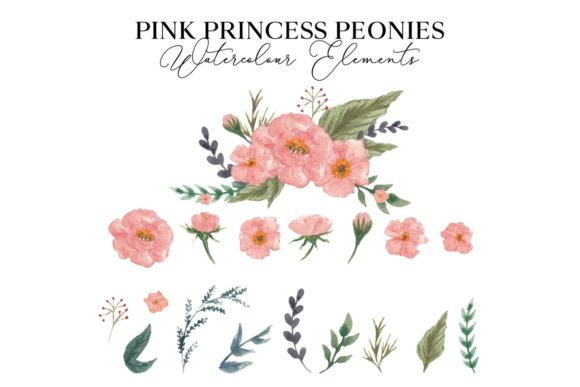 Pink Princess Peonies Watercolor Graphic Illustrations By Monogram Lovers