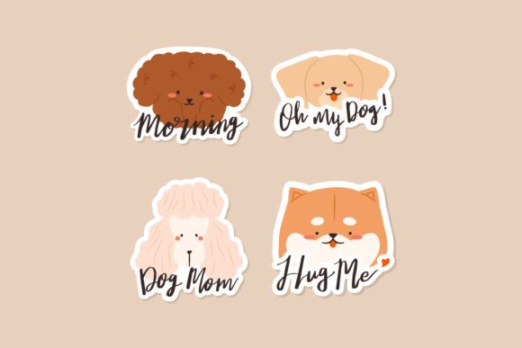 Print on Demand: Stickers Morning Oh My Dog Mom Lettering Graphic Print Templates By Musbila