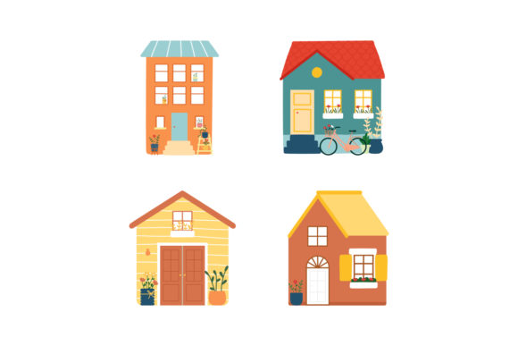 Print on Demand: Tiny Houses Icon Gardening House Plant Graphic Illustrations By Musbila
