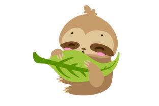 Baby Sloth Eating a Leaf Baby Craft Cut File By Creative Fabrica Crafts