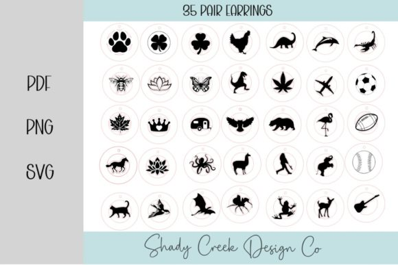 35 Pair Circle Earrings Graphic 3D SVG By Shady Creek Design Company