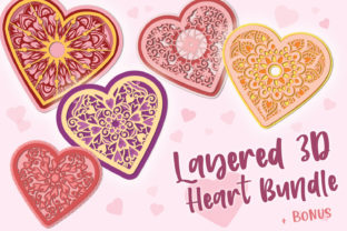 Print on Demand: 3D Layered Heart Bundle - 5 Items & Bonu Graphic 3D Shapes By tatiana.cociorva