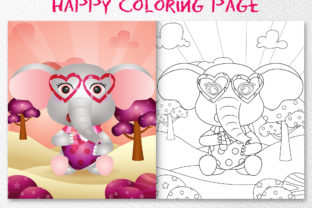 A Elephant Deer - Coloring Pages Graphic Coloring Pages & Books Kids By wijayariko