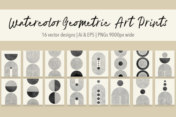 Print on Demand: Abstract Watercolor Geometric Prints Graphic Illustrations By Jennadesigns