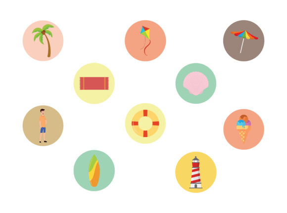 Beach Ten Fill Icon Bundle Graphic Illustrations By printablesplazza