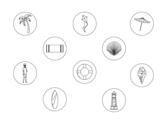 Beach Ten Outline Icon Bundle Graphic Illustrations By printablesplazza
